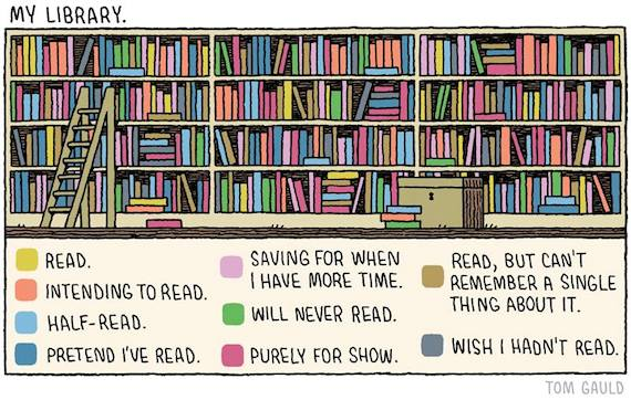 Tom Gauld's cartoon depicting a library full of unread books.